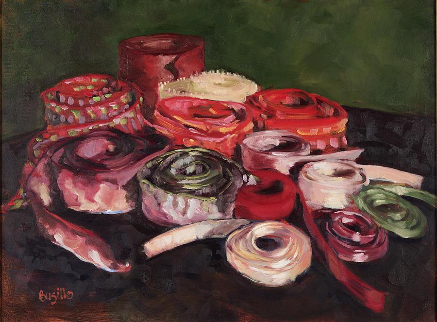 Ribbons Painting - Pink Ribbons by Kathy Busillo