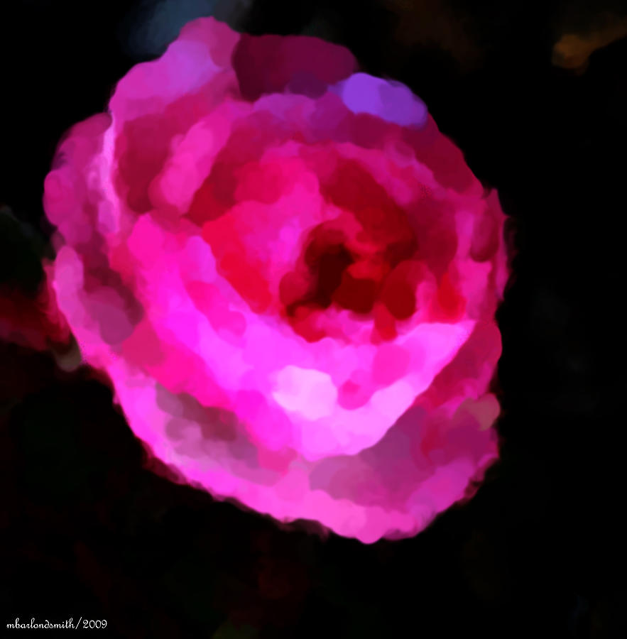 Digital Digital Art - Pink Rose Impresion  by Michelle  BarlondSmith