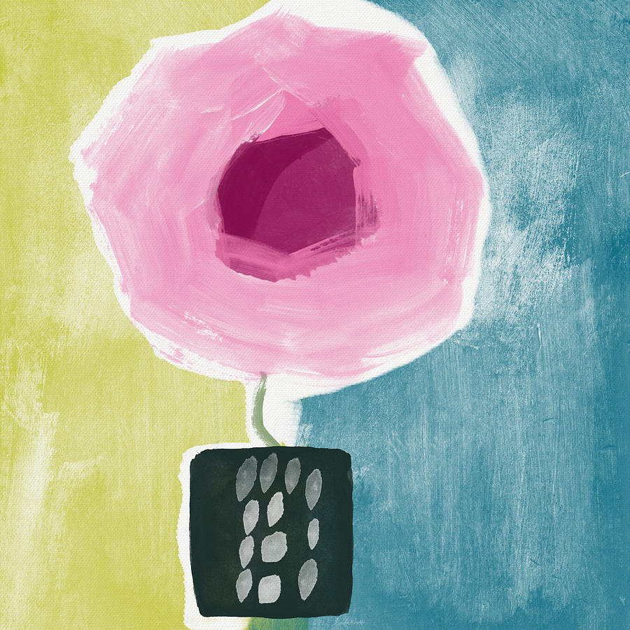 Pink Rose In A Small Vase- Art By Linda Woods Painting