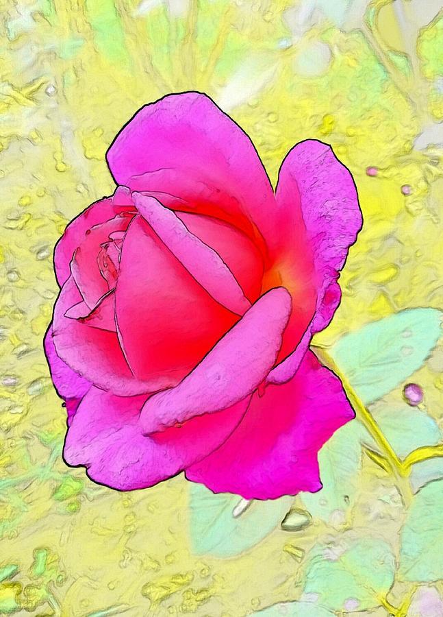 Pink Digital Art - Pink Rose by Kumiko Izumi