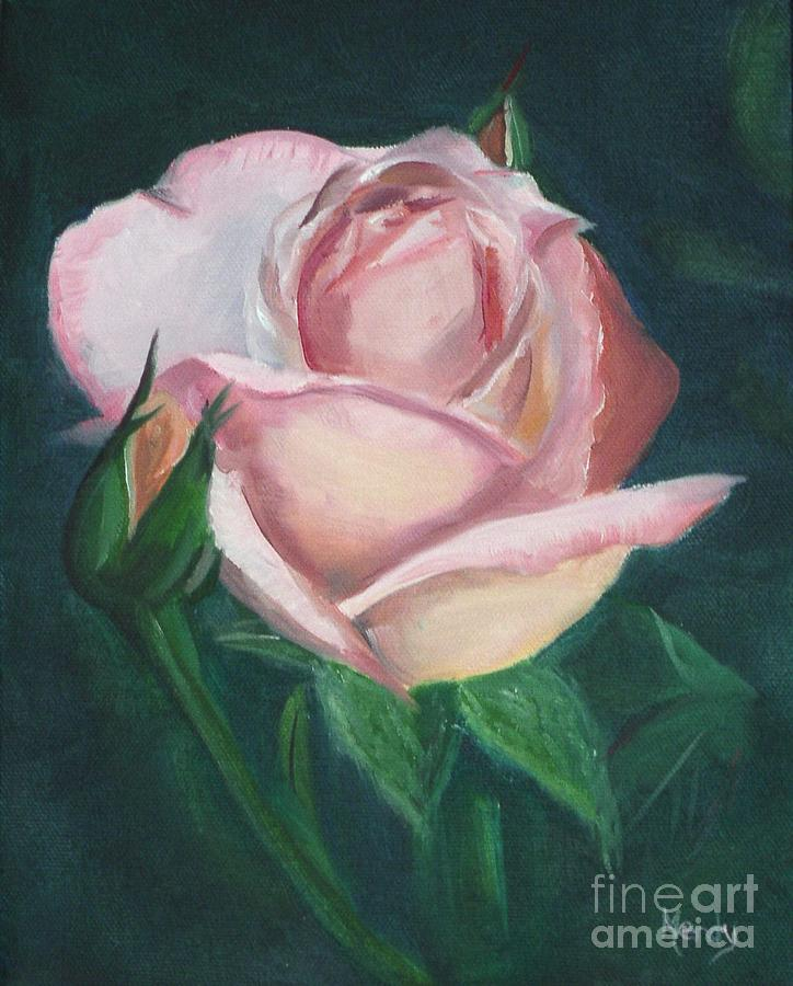 Rose Painting - Pink Rose by Mendy Pedersen
