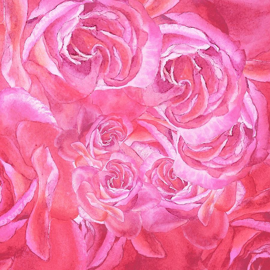 Pink Rose Petals Abstract Painting