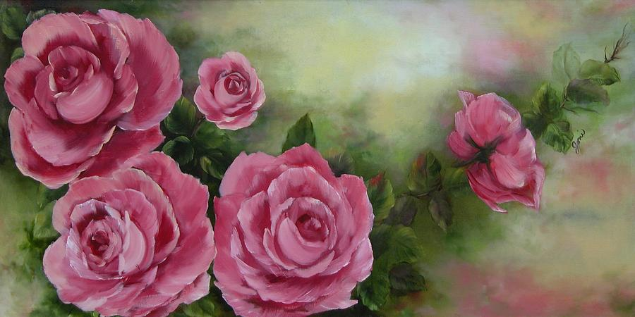 Oil Painting Painting - Pink Roses by Joni McPherson