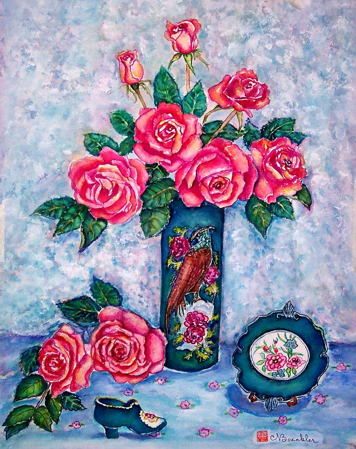Still Life Painting - Pink Roses by Norma Boeckler