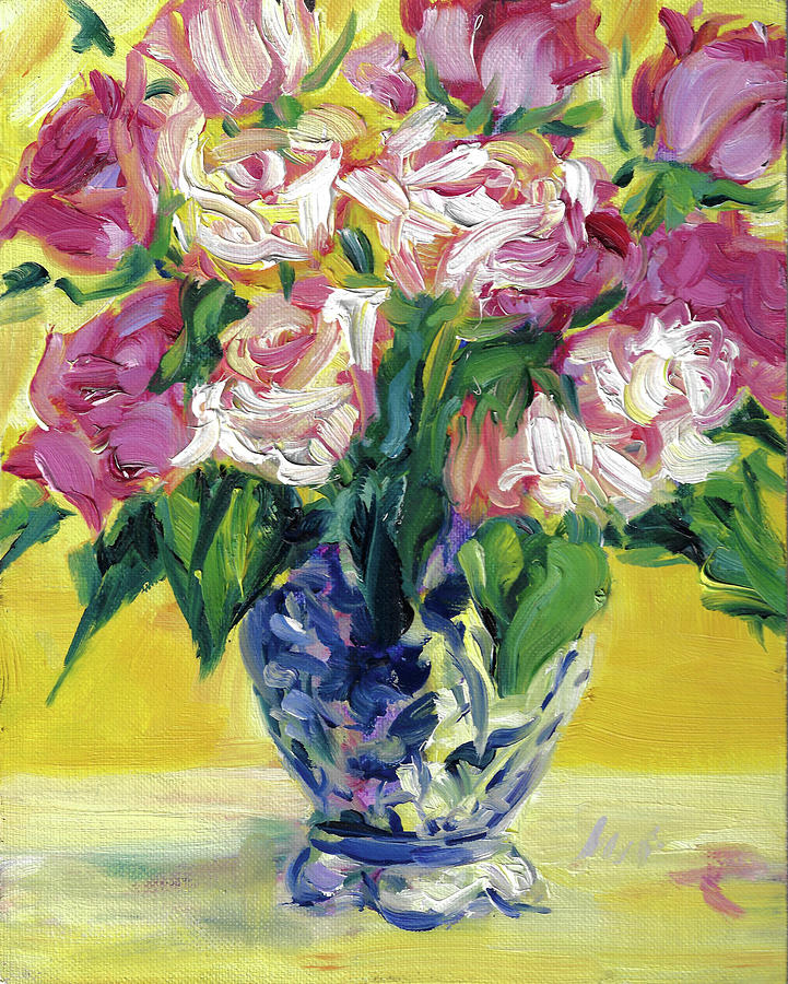 Oil Painting Of Roses Painting - Pink Roses In Blue Deft Vase by Jacki Kellum
