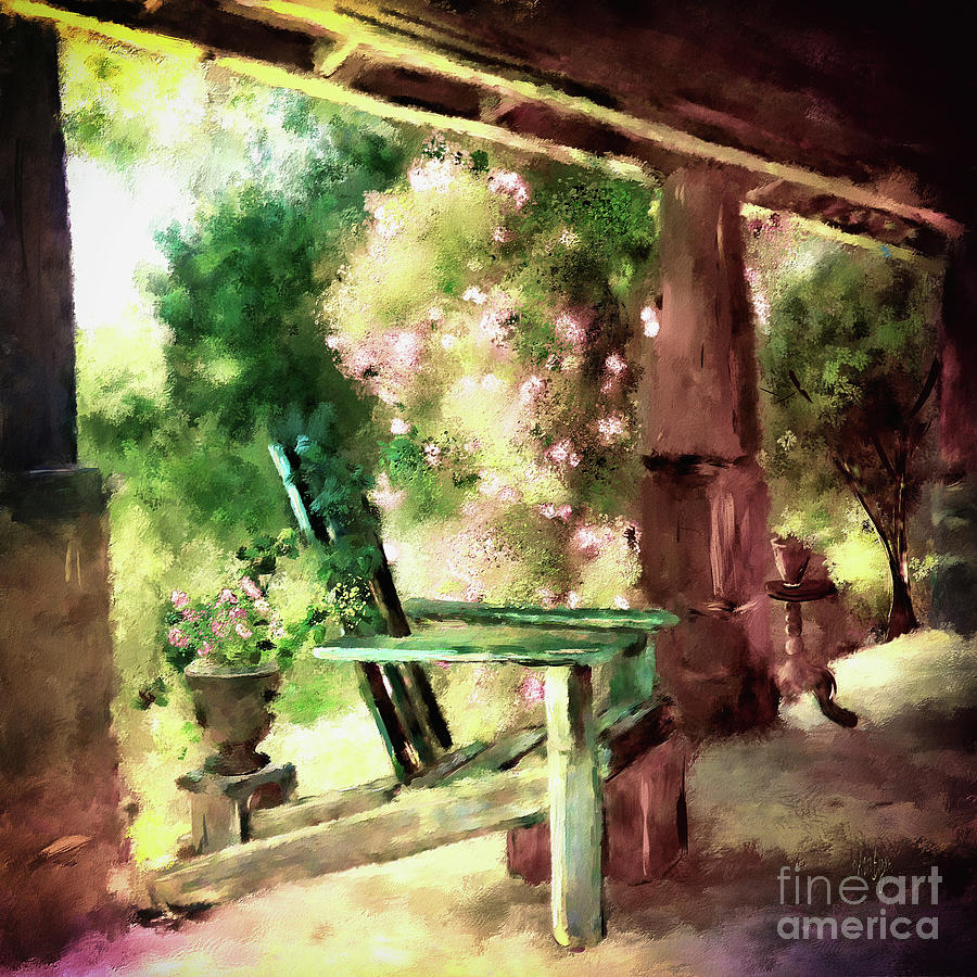 Porch Digital Art - Pink Roses On The Porch by Lois Bryan