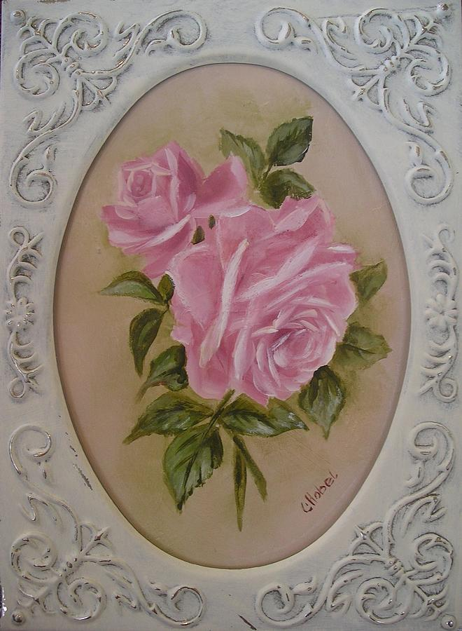 Pink Roses Painting - Pink Roses Oval Framed by Chris Hobel