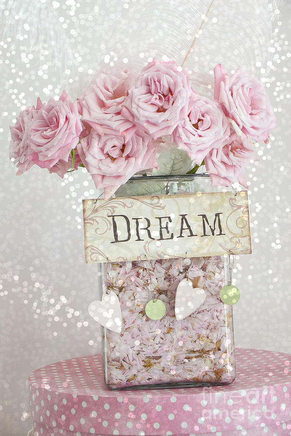 Roses Photograph - Shabby Chic Dreamy Pink Roses - Cottage Chic Pink Romantic Roses In Jar  - Dream Roses by Kathy Fornal