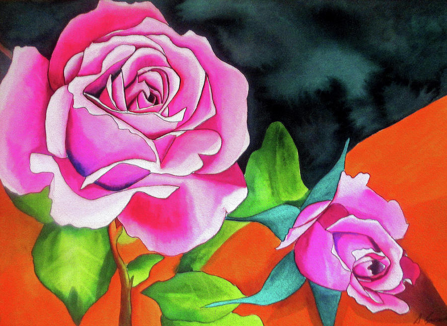 Roses Painting - Pink Roses with Orange by Sacha Grossel