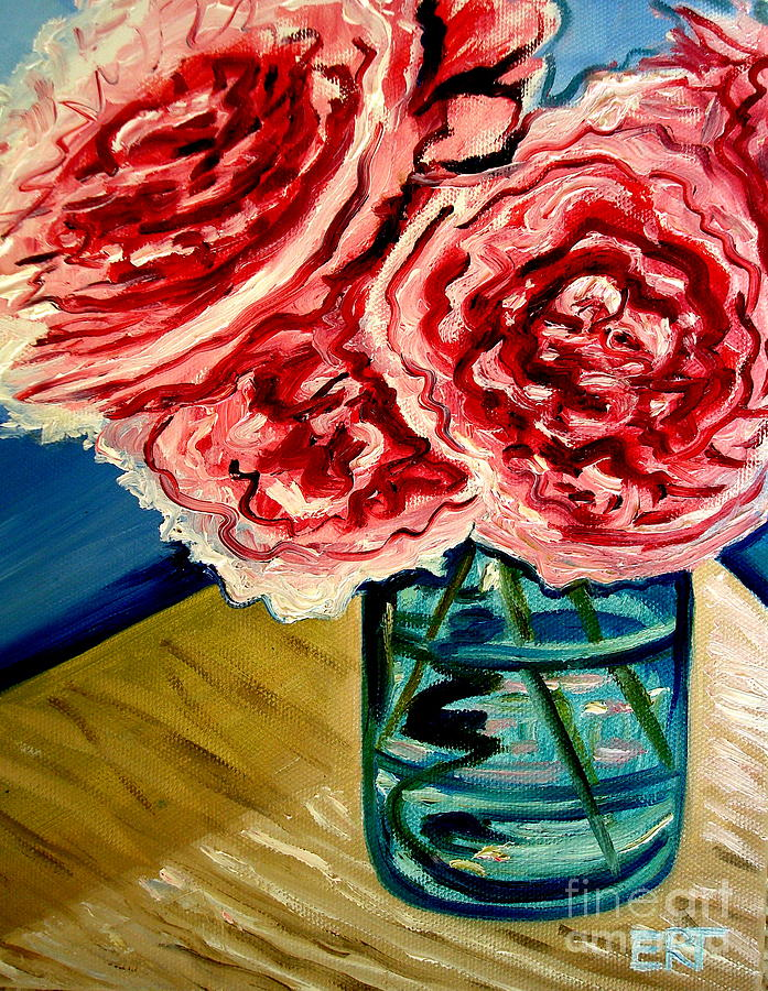 Floral Painting - Pink Ruffled Peonies by Elizabeth Robinette Tyndall