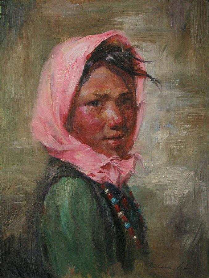 Tibet Painting - Pink Scarf by Kelvin  Lei
