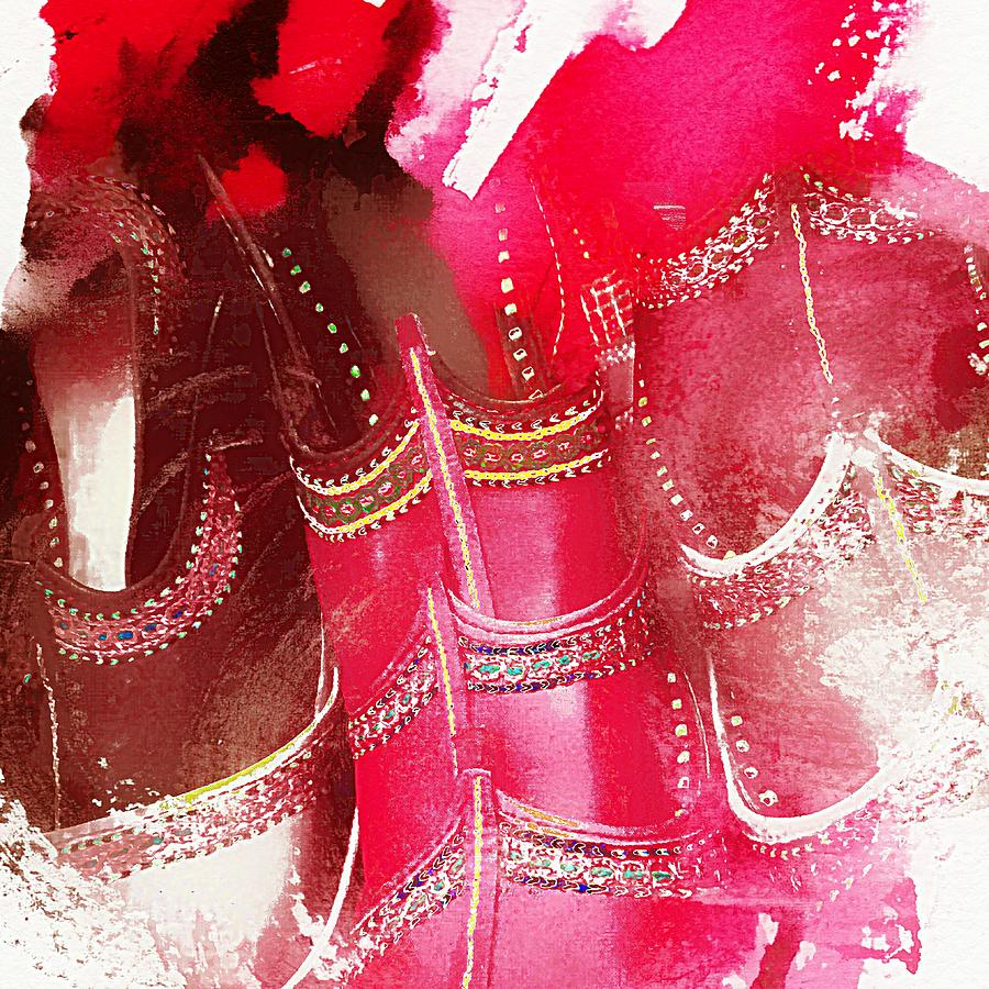 187781f25de2 Pink Shoes Shopping Is Fun Colorful Square Abstract 4a Photograph ...