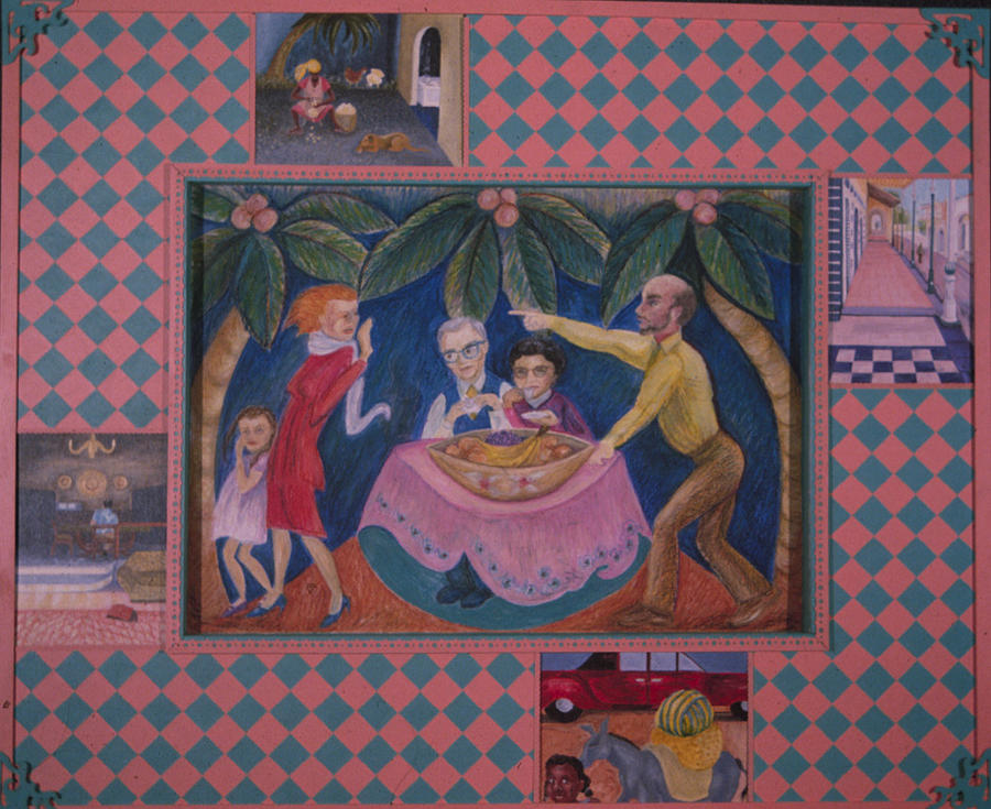 Haiti Painting - Pink Sidewalk Politics by Barbara Nesin