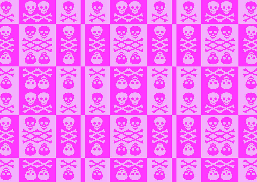 Pink Skull And Crossbones Pattern Digital Art