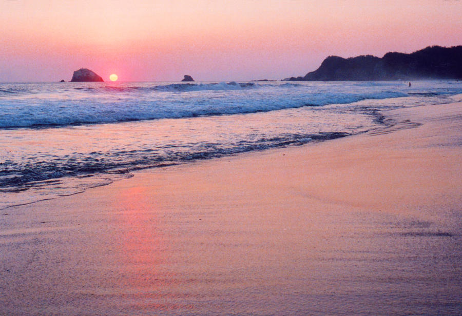 Beach Photograph - Pink Sky In Zipolite 2  by Lyle Crump