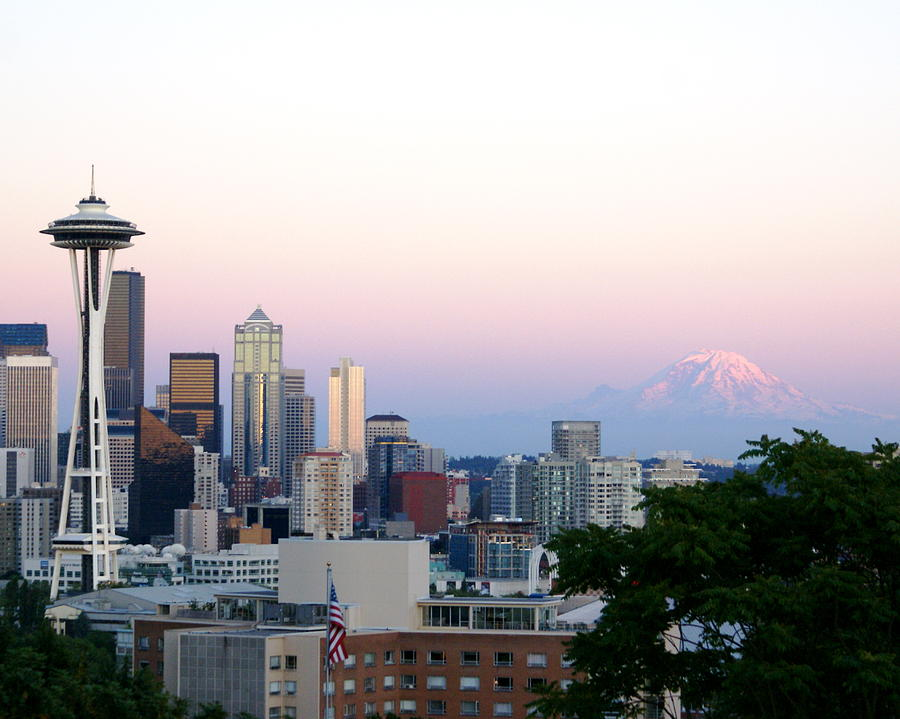 Cityscape Photograph - Pink Sky Over Mount Rainier by Sonja Anderson