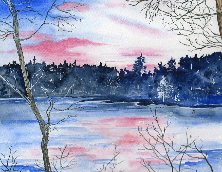 Watercolor Painting - Pink Sky Reflections by Brenda Owen