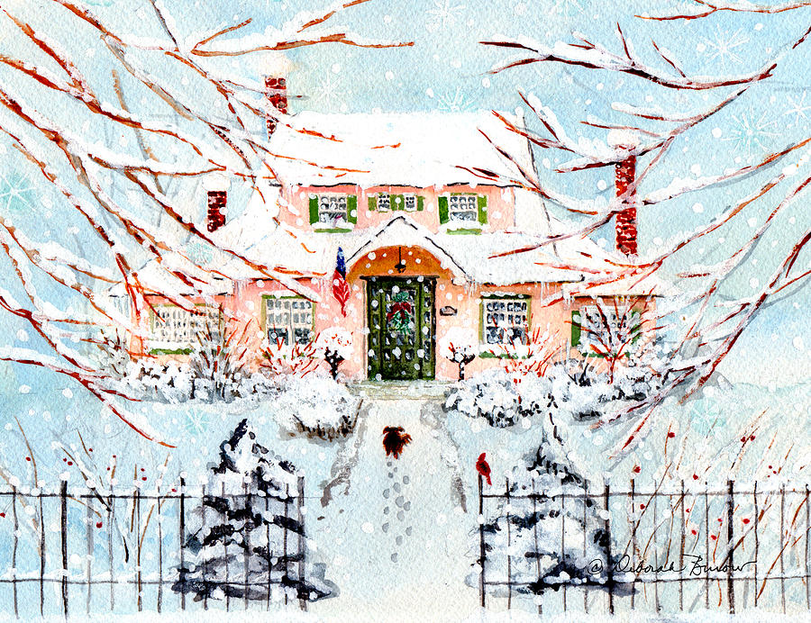 Wrought Iron Fence Painting - Pink Snow House by Deborah Burow