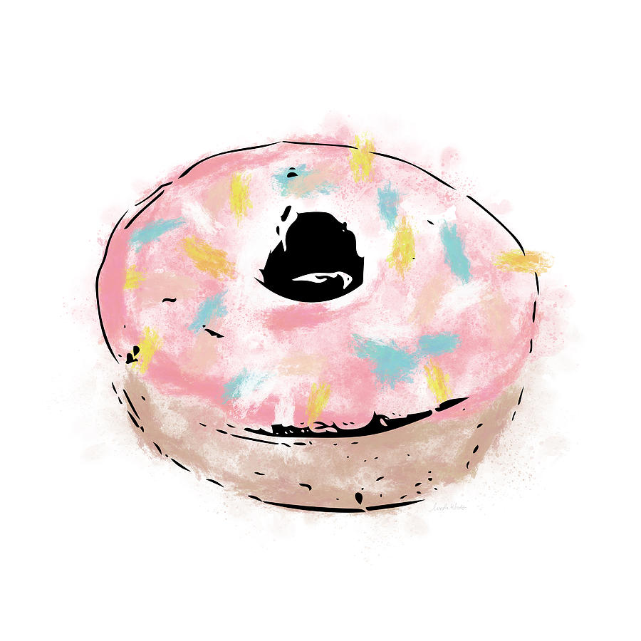 Donut Mixed Media - Pink Sprinkle Donut- Art By Linda Woods by Linda Woods