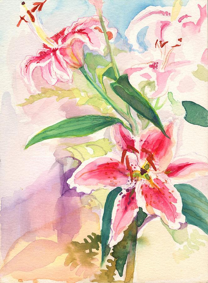 Pink Stargazer Lilies by Nancy Watson