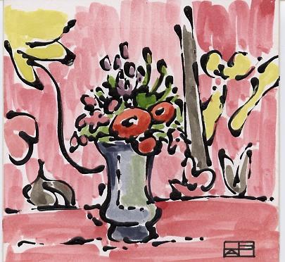 Pink Still Life Painting by Helen Pisarek