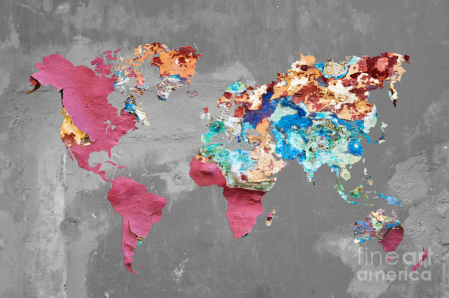 Pink street art world map photograph by delphimages photo creations world map photograph pink street art world map by delphimages photo creations gumiabroncs Image collections