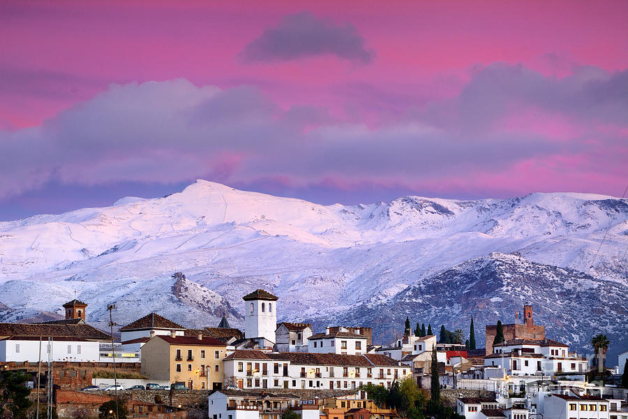 Pink Sunset Over Granada And The Alhambra Palace And Sierra Nevada