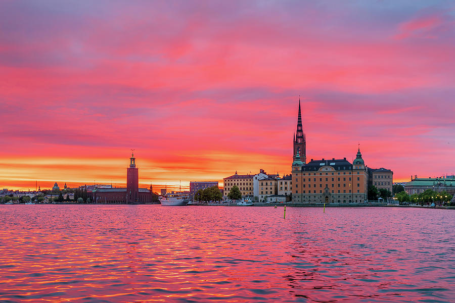 Fiery Photograph - Pink sunset over Stockholm by Dejan Kostic