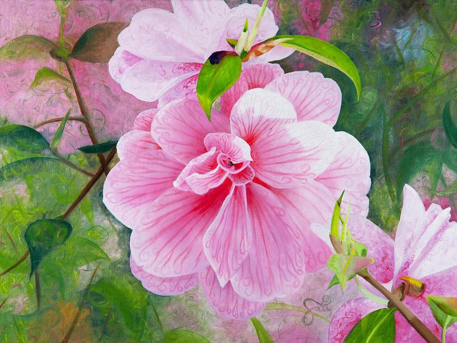 Pink Flower Painting - Pink Swirl Garden by Shelley Irish