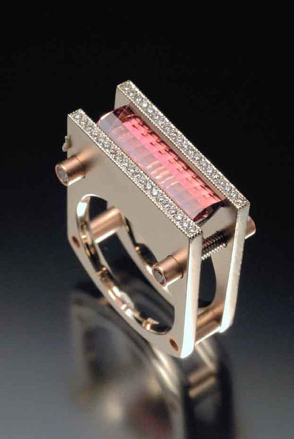 Pink Tourmaline Ring With Diamonds Jewelry by Ivan Sagel