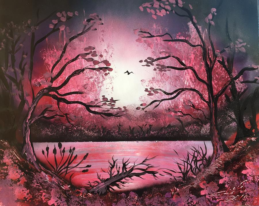 Pink Trees Painting By Trent Curnow