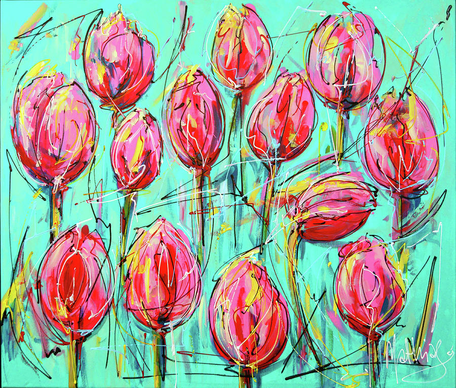 Tulips Painting - Pink Tulip, Turquoise by Mathias