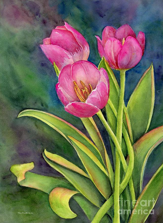 Pink Tulip Twist Painting