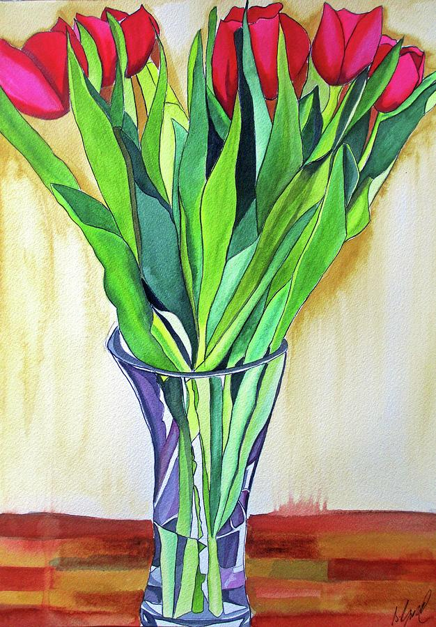 Tulips Painting - Pink Tulips by Sacha Grossel