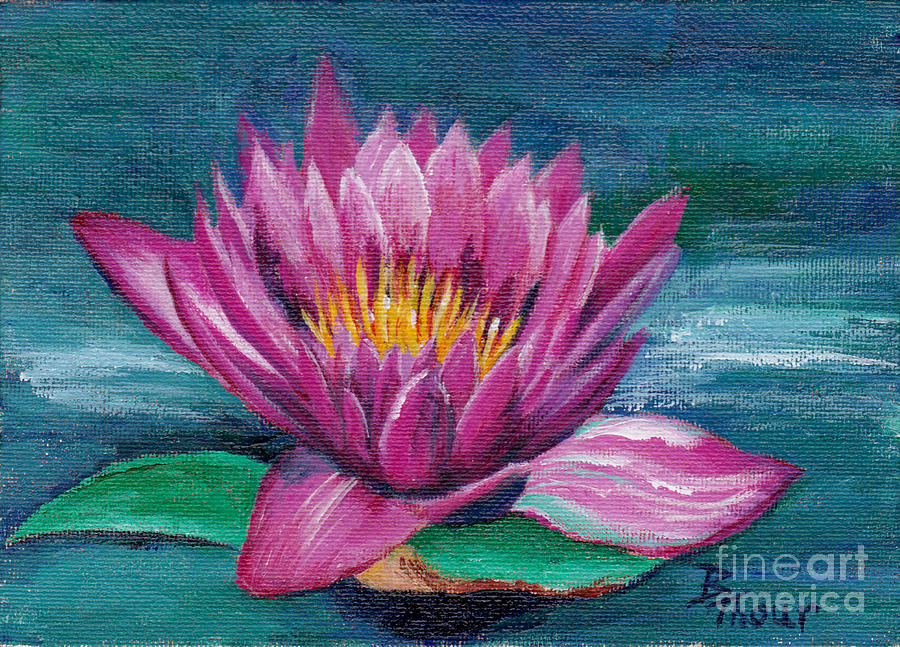 Water Lily Painting - Pink Water Lily Original Painting by Brenda Thour