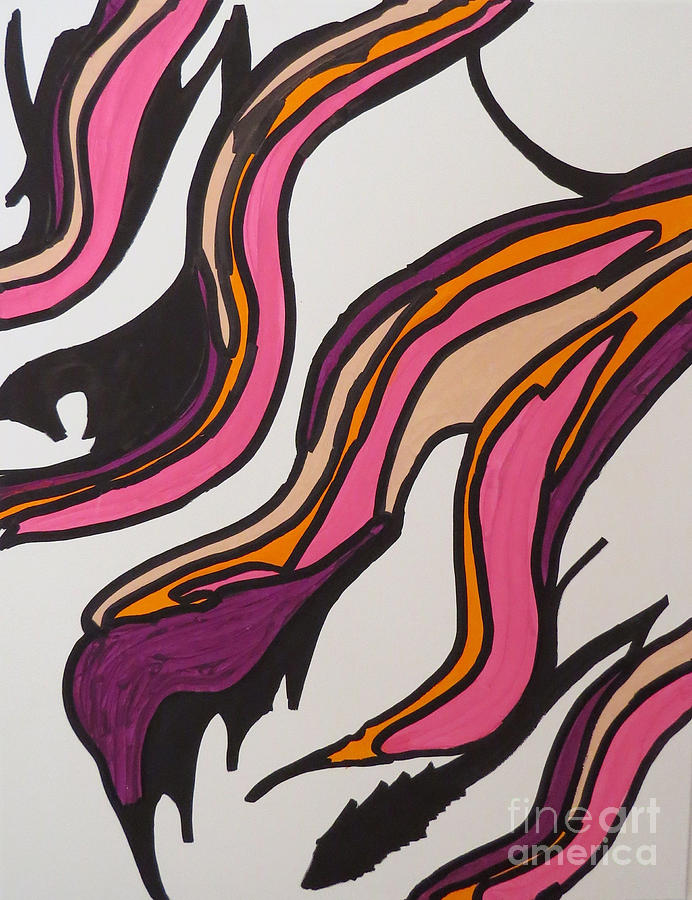 Abstract Painting - Pink Waves by Mary Mikawoz