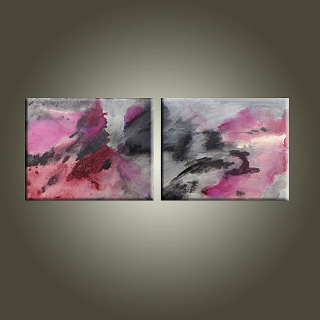 Large Abstract Painting - Pink Willow by Jean Brewster