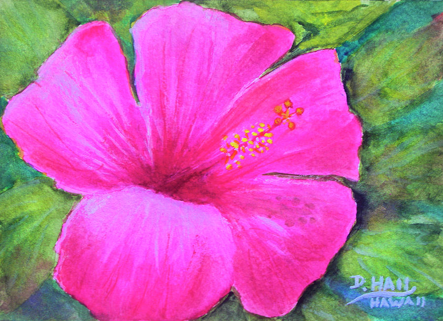Hibiscus Painting - Pinkhawaii Hibiscus #505 by Donald k Hall