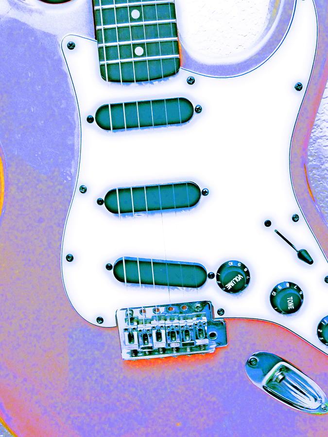 Photography Music Guitar Colorfull Killian Art  Pyrography - Pinky by Jerry Killian