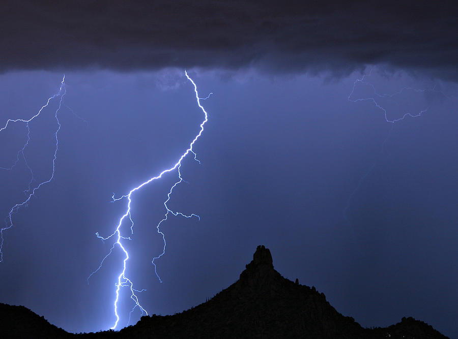 Pinnacle Peak; North Scottsdale; Arizona; Phoenix; Desert; Lightning; Storms; Striking; Bolts; Landscapes; Nature; Stock Images; Wall Art; Photography; Weather; Sky; Skyscape; Tmed Exposure; Posters; Canvas Prints; Canvas Art; Striking-photography.co Photograph - Pinnacle Peak Lightning  by James BO  Insogna