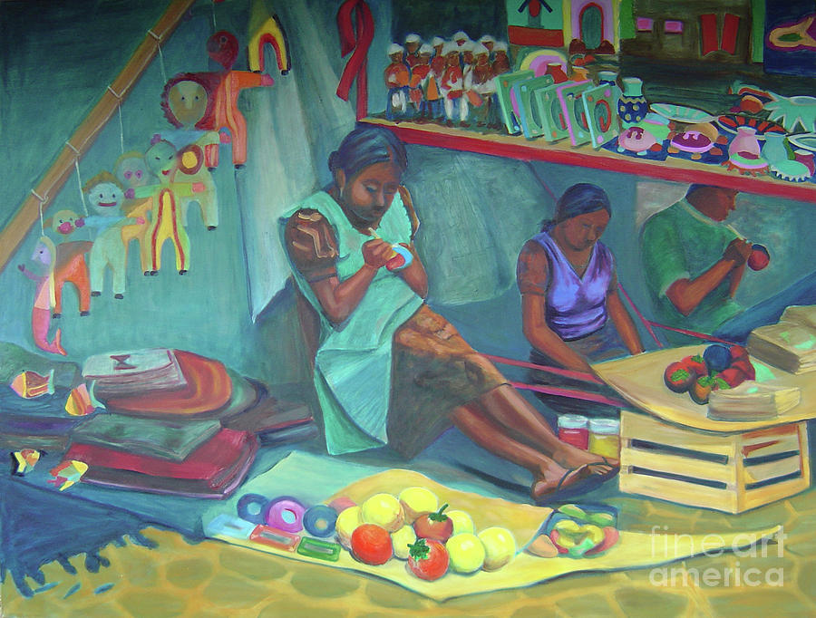 Mexico Painting - Pintando Artesanias by Lilibeth Andre