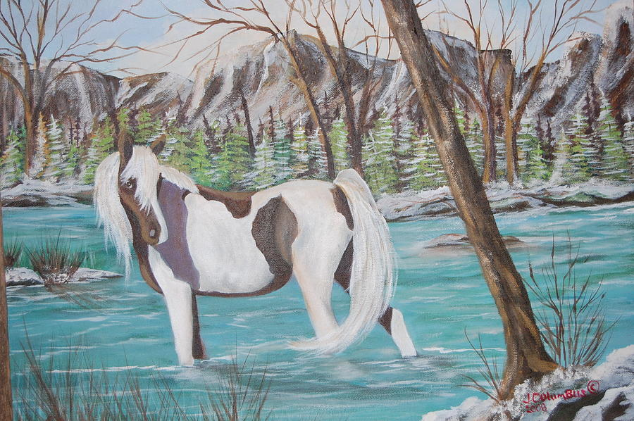 Pinto Horse Painting - Pinto Cooling Her Heels by Janna Columbus