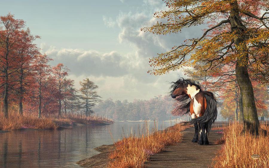 Pinto Digital Art - Pinto Horse On A Riverside Trail by Daniel Eskridge