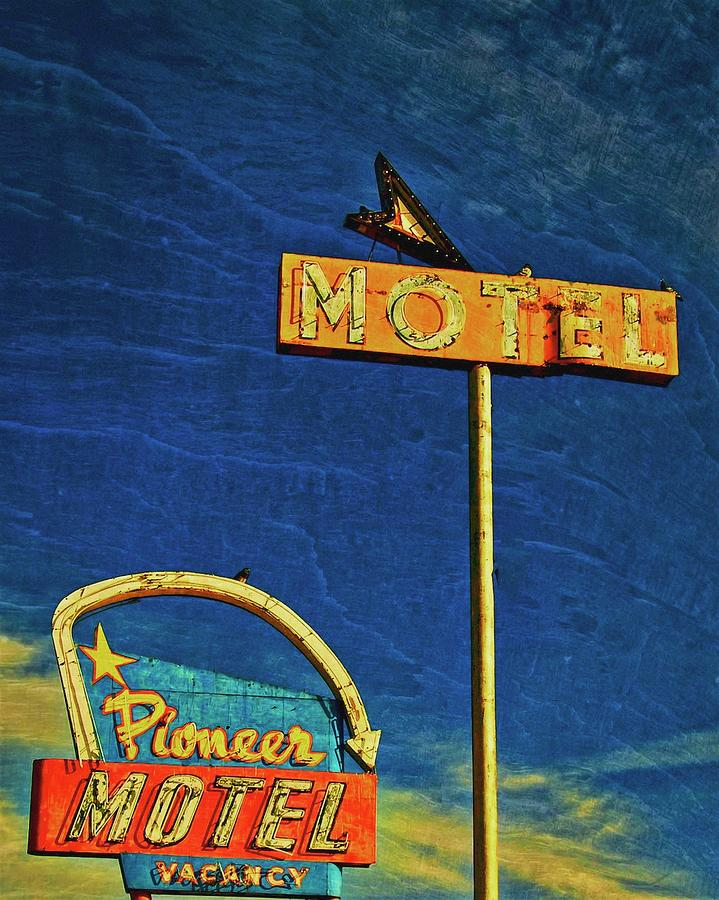 Signs Photograph - Pioneer Motel, Albuquerque, New Mexico by Flying Z Photography by Zayne Diamond