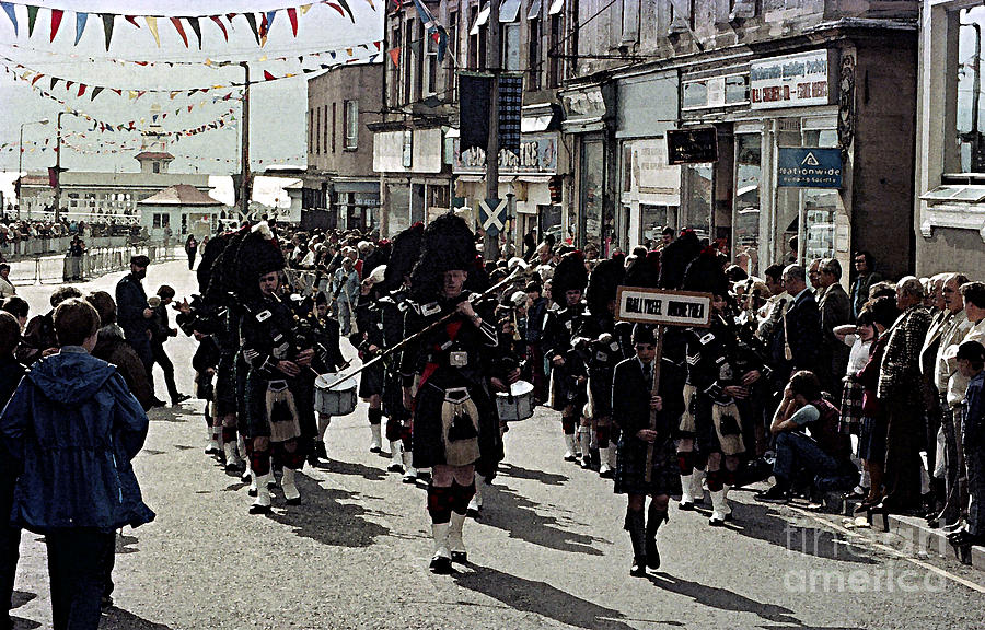 Scotland Digital Art - Pipe Band Highland Games Scotland by Mark Grayden