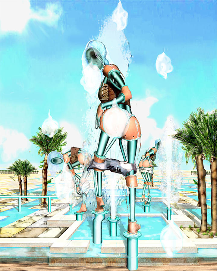 Pipe Human Figures Creating On Oasis Number Two Digital Art by Leo Malboeuf