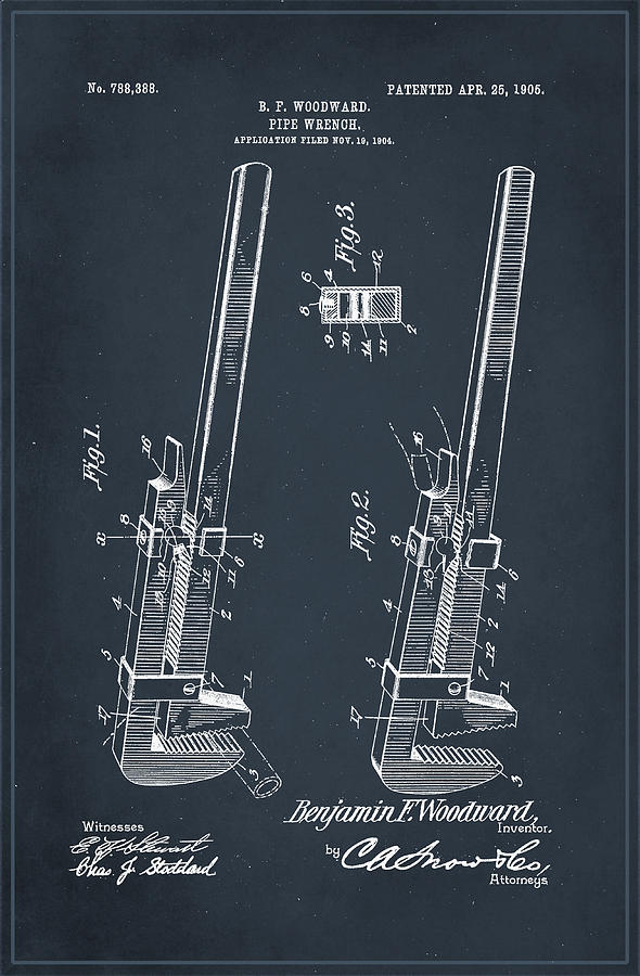 Patent Mixed Media - Pipe Wrench Patent Drawing 2d by Brian Reaves