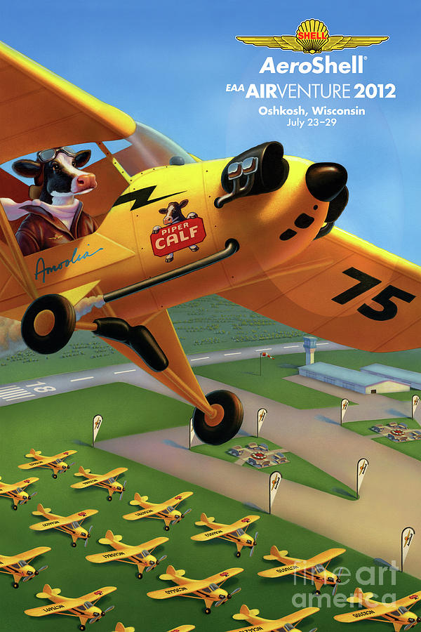 Piper Cub Plane Painting - Piper AirCraft Poster  by Robin Moline