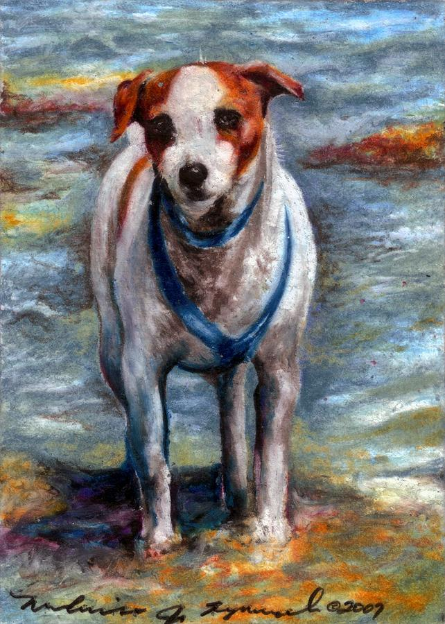 Dog Drawing - Piper On The Beach by Melissa J Szymanski