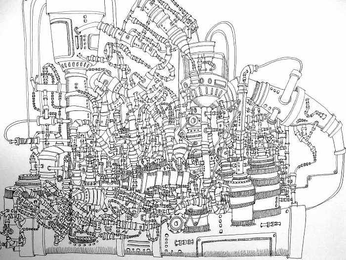 Pipes Drawing - Pipes by Emily Cash